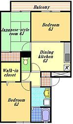 千葉県市川市妙典6丁目の賃貸アパートの間取り