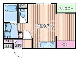 阪急千里線 千里山駅 徒歩7分の賃貸マンション 2階ワンルームの間取り