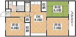 ユニハイム平野[11階]の間取り