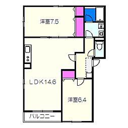 南海高野線 狭山駅 徒歩20分の賃貸アパート 2階2LDKの間取り