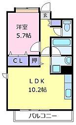南海高野線 萩原天神駅 徒歩20分の賃貸マンション 4階1LDKの間取り