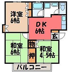 栃木県宇都宮市緑5の賃貸アパートの間取り