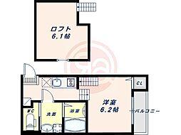 阪堺電気軌道阪堺線 我孫子道駅 徒歩5分の賃貸アパート 2階1SKの間取り