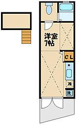 京王線 芦花公園駅 徒歩8分の賃貸アパート 1階ワンルームの間取り