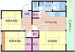 UR箕面粟生第3 17号棟[6階]の間取り