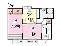 レジデンス・ナカジマB棟[1階]の間取り