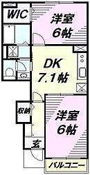 埼玉県狭山市根岸2丁目の賃貸アパートの間取り
