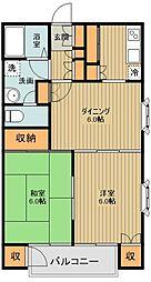 東武東上線 新河岸駅 徒歩22分の賃貸アパート 2階2DKの間取り