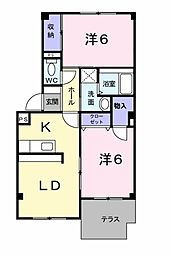 愛知県岡崎市赤渋町字蔵西の賃貸アパートの間取り