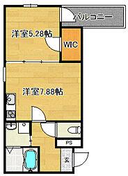 Osaka Metro今里筋線 瑞光四丁目駅 徒歩5分の賃貸アパート 2階1LDKの間取り