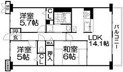 交野グリーンマンション[6階]の間取り