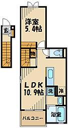 ヌールハリーフ2 2階1LDKの間取り