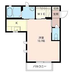リヴラルジュ 1階ワンルームの間取り
