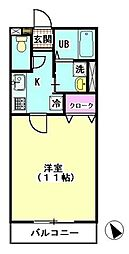 東京都大田区上池台1丁目の賃貸アパートの間取り