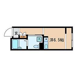 JR中央線 東小金井駅 徒歩2分の賃貸マンション 2階ワンルームの間取り