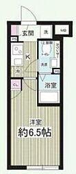 東急目黒線 西小山駅 徒歩8分の賃貸マンション 2階1Kの間取り