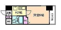 大阪府大阪市福島区野田3丁目の賃貸マンションの間取り