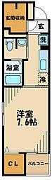 JR中央線 豊田駅 徒歩12分の賃貸マンション 1階1Kの間取り