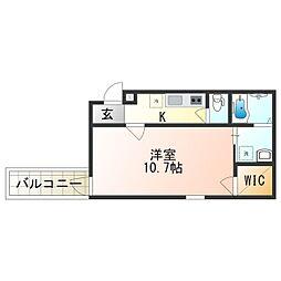 Fujipalace 桜 西今川I番館 2階1Kの間取り