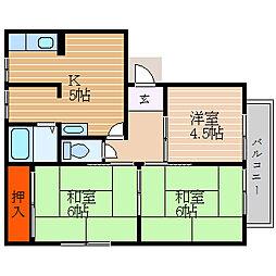 滋賀県彦根市開出今町の賃貸アパートの間取り