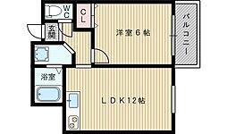 メロディハイム新大阪[2階]の間取り