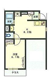 ラフィネ横浜 1階1DKの間取り