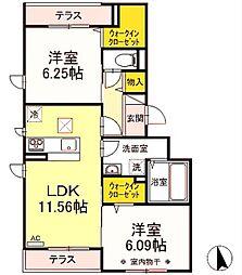 仮)Droom長峰A棟 3階2LDKの間取り
