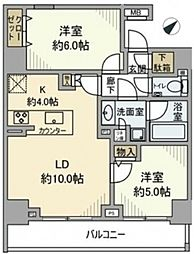AXAS汐留 11階2LDKの間取り
