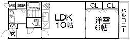 プロムナードX 2階1LDKの間取り