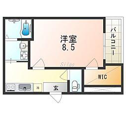 (仮称)フジパレス千代田五丁目 1階1Kの間取り