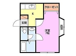 新栄ハイツJ棟 2階1Kの間取り