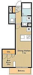 JR中央線 八王子駅 徒歩10分の賃貸マンション 2階1DKの間取り