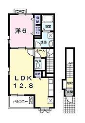東武越生線 武州唐沢駅 徒歩7分の賃貸アパート 1階1LDKの間取り