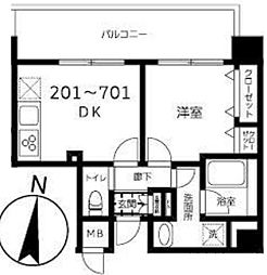 東京メトロ半蔵門線 錦糸町駅 徒歩9分の賃貸マンション 7階1DKの間取り