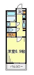東武東上線 朝霞駅 徒歩12分の賃貸マンション 3階1Kの間取り
