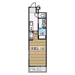 フジパレスヴィレッジ白鷺 2階1Kの間取り