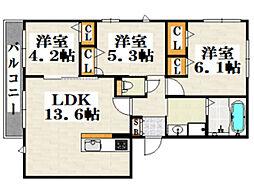 ロンボヌール天神南A 3階3LDKの間取り