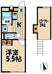 神奈川県鎌倉市山崎の賃貸アパートの間取り