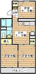 JR川越線 西大宮駅 徒歩7分の賃貸アパート 2階3DKの間取り