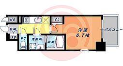 JR大阪環状線 鶴橋駅 徒歩4分の賃貸マンション 9階1Kの間取り