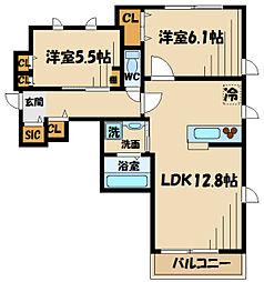 リヴィエール 2階2LDKの間取り