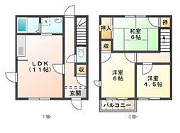 愛知県豊橋市高師本郷町字本郷の賃貸アパートの間取り