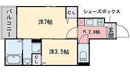 福岡市地下鉄七隈線 橋本駅 徒歩23分の賃貸アパート 1階2Kの間取り