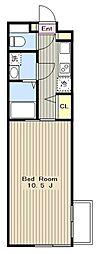 小田急江ノ島線 湘南台駅 徒歩8分の賃貸マンション 2階1Kの間取り