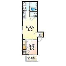 阪急神戸本線 神崎川駅 徒歩8分の賃貸アパート 2階1LDKの間取り