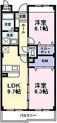 インヴィテ・ボヌールII番館 1階2DKの間取り