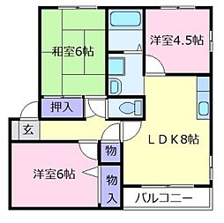 大阪府羽曳野市島泉6の賃貸アパートの間取り