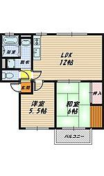 大阪府大阪市旭区新森2丁目の賃貸アパートの間取り