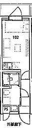 デコールブロッコ武蔵関 1階ワンルームの間取り