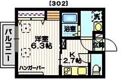 京急本線 北品川駅 徒歩3分の賃貸マンション 3階1Kの間取り